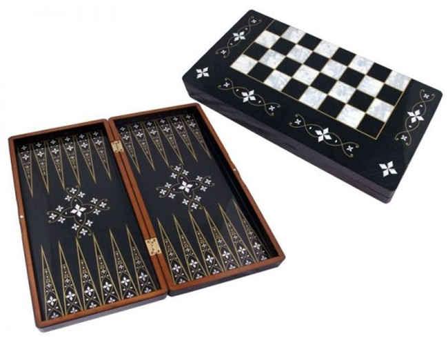 Black Handmade Backgammon, Nacre фото