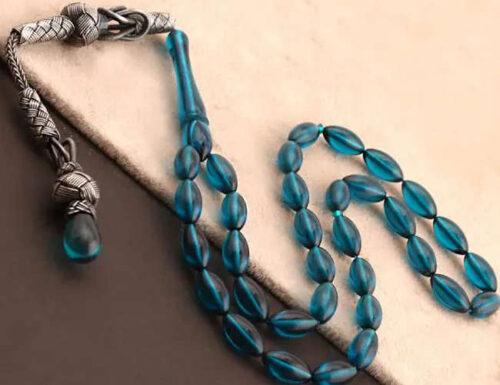 Oil blue amber prayer beads tesbih