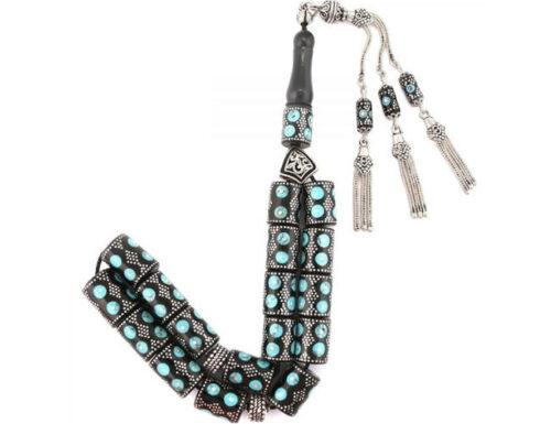 Oltu stone turquoise detailed tiny prayer beads tesbih