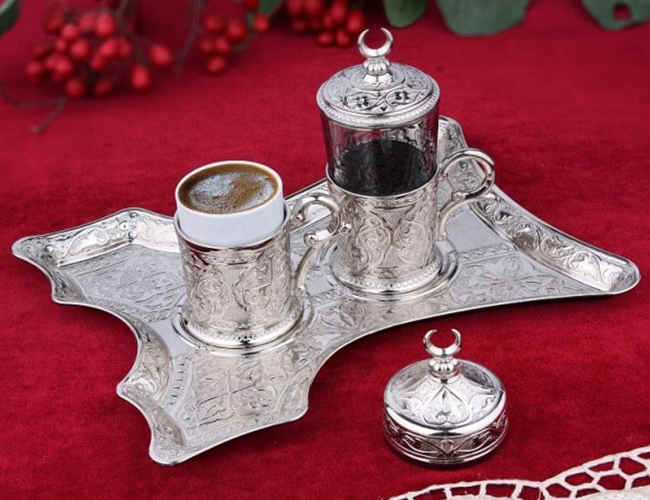 Turkish Coffee Set for One, Silver Colour фото
