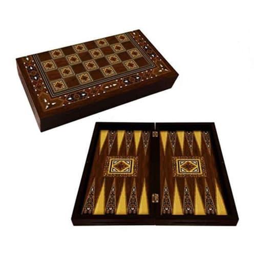 Antique mosaic handmade backgammon nacre