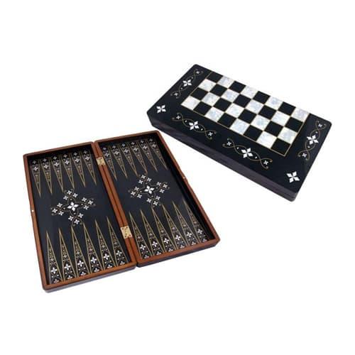 Black handmade backgammon nacre