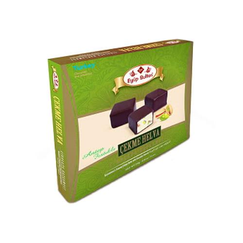 Chocolate covered pistachio tensile halva