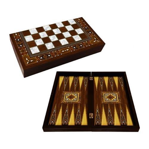 Nácar de backgammon hecho a mano mosaico