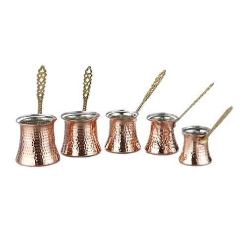 Tyrkisk kaffekande sæt 5 stk kobber