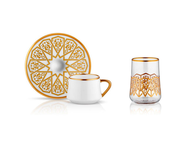 Sufi Aheste Turkish Coffee Cup Set 6 + 6 фото