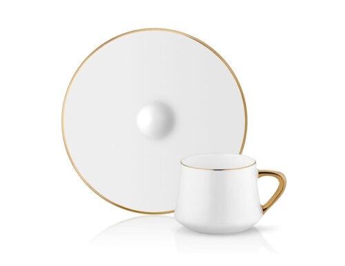 Sufi turkish coffee cup set 6 gold border