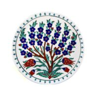 Turkish-Iznik-Tile-Handmade-Tree-&-Tulip-Ceramic-Plate-D-25cm