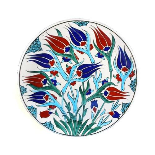 Tyrkisk-iznik-flise-håndlavet-tulipan-have-keramik-plade-d-25cm