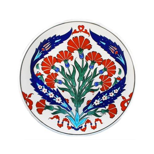 Turki-Iznik-Ubin-Handmade-Cengkeh-Keramik-Piring-D-25cm