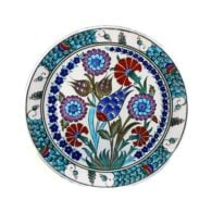 Turkish-Iznik-Tile-Handmade-Flower-Garden-Ceramic-Plate-D-25cm