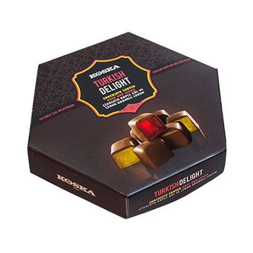 Koska Chocolate Coated Turkish Delight with Rose and Lemon Flavored 140 gr