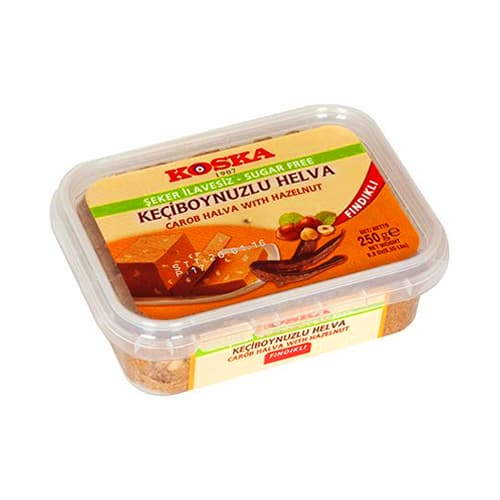 Koska Traditional Turkish Karob Halva with Hazelnut Sugar Free for Diabetic Plastic Box 250 gr