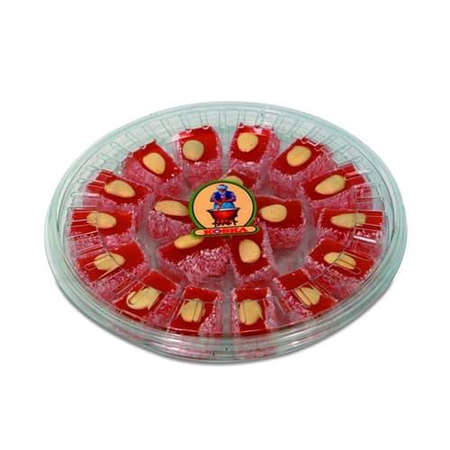Koska delicia tradicional del palacio turco con almendras y rosas transparentes con sabor en caja 500 gr