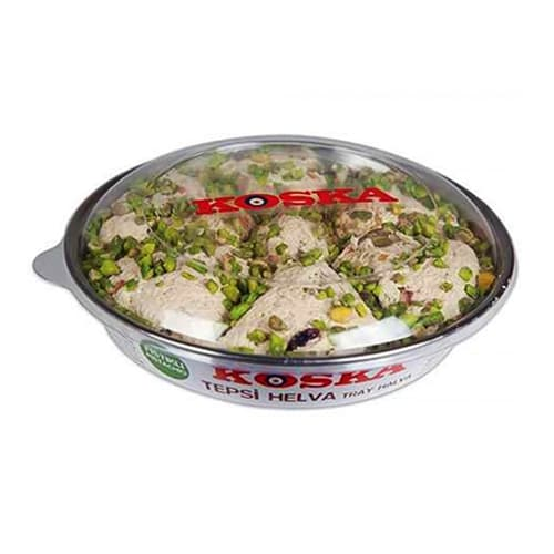 Koska traditional turkish tray halva candy with double pistachio 650 gr