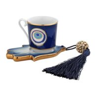 Turkish Coffee Set Hamsa Hand Saucer with Evil Eye Pattern