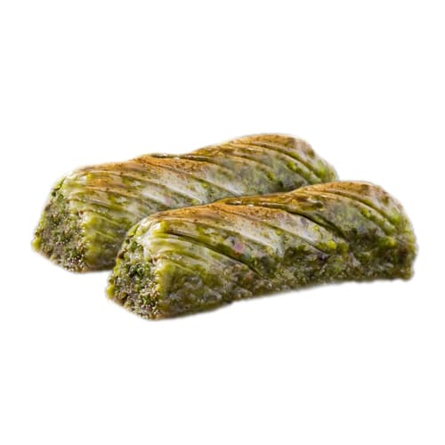 Twisted traditional turkish baklava with pistachio