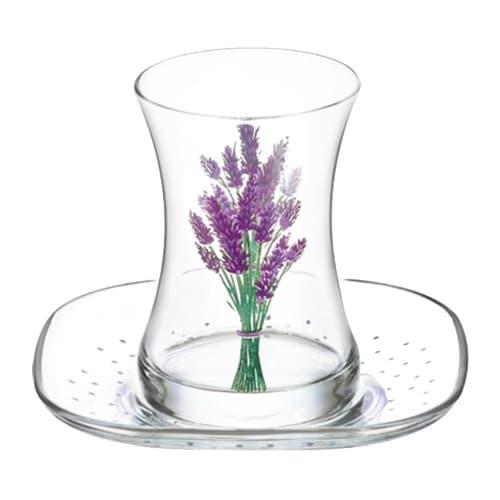 Lav turkish tea glass set lavender (12pcs)