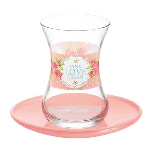 Lav turkish tea glass set pink love dream (12pcs)