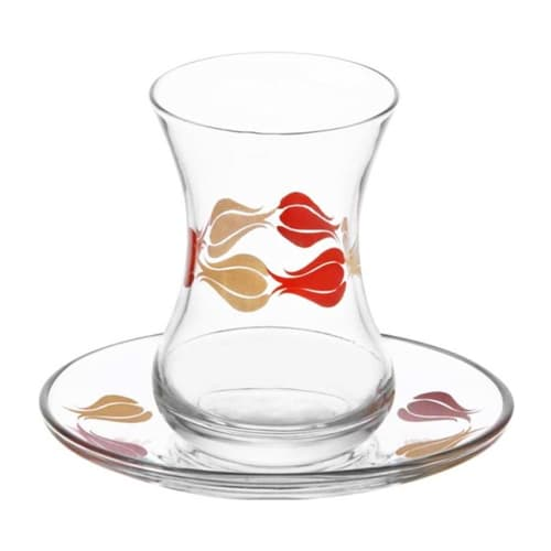 Lav turkish tea glass set tulip (12pcs)