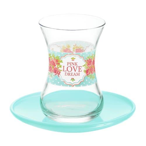Juego de vasos de té turco lav turquesa love dream (12pcs)