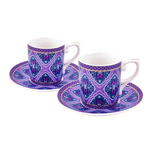 Turkish coffee cup porcelain violet dream (set of 6)