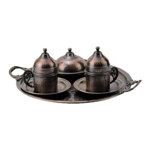 Turkish-Copper-Coffee-Set-Handcrafted-Antiquing-(Set-Of-6)