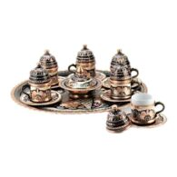 Turkish-Copper-Coffee-Set-Handcrafted-Erzincan-(Set-Of-6)