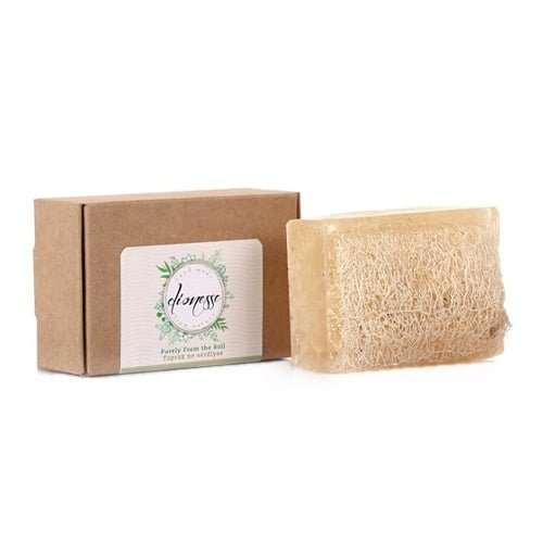 Turkish natural handmade soap garlic with organic zucchini fiber