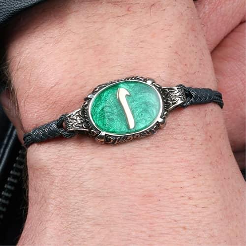 Alif-design-yesil-mine-silver-knitted-kazaz-bracelet