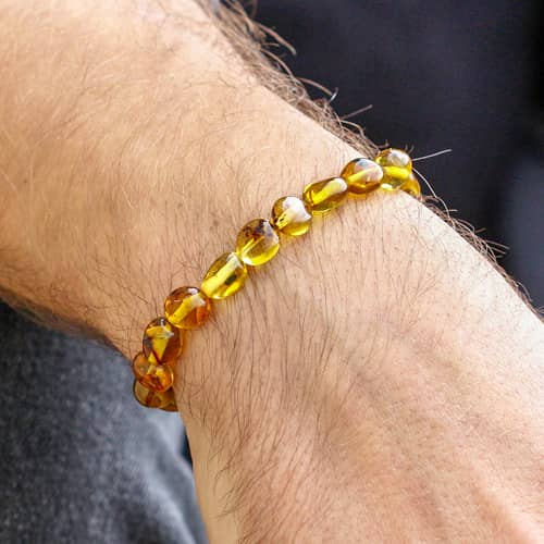 Certified-Fossil-Particle-Has-Amber-Bracelet