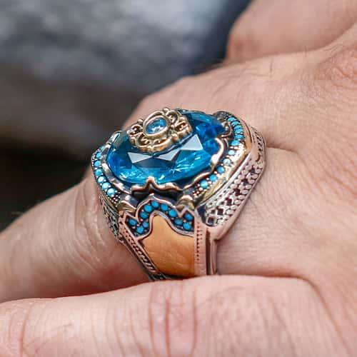 Diseño-Personalizado-Azul-Circón-Anillo-Plata