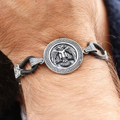 Custom-Design-Seljuk-Eagle-Silver-Bracelet-With-Kalemkar-Craftsmanship-2