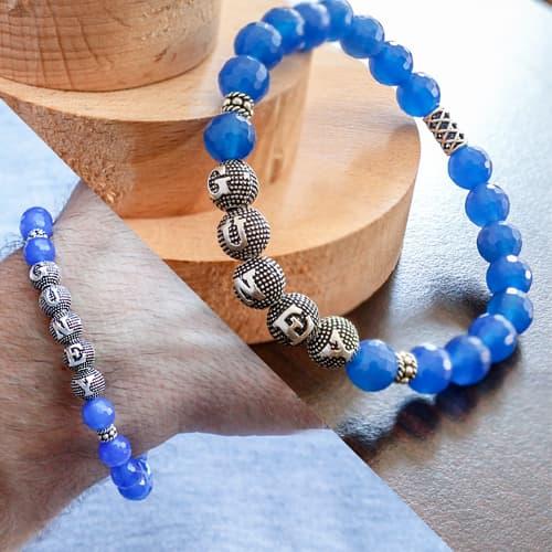 Rosario de piedra de ágata azul con nombre personalizado