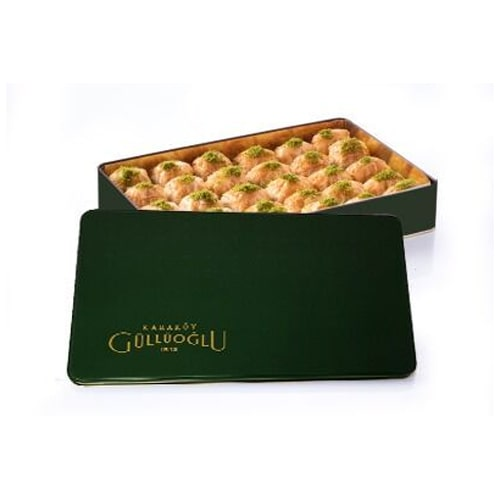 Square-baklava-with-peanuts-in-a-metal-box