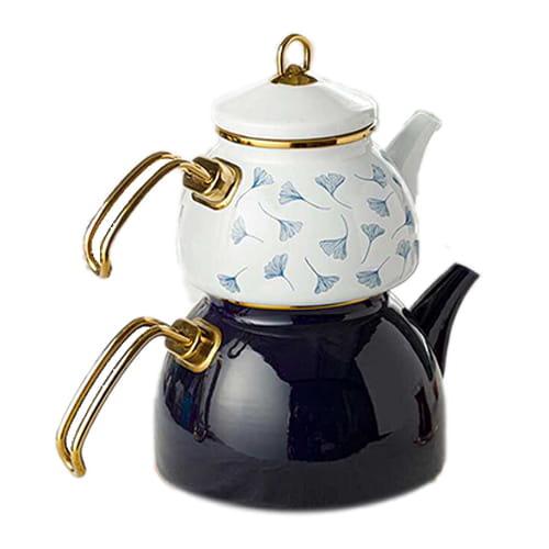 English-home-gingko-biloba-emaye-teapot-1. 1-liter-+-2. 3-liter-white---navy-blue