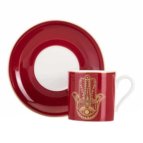 Fatima-bonechina-cup-set,-2-pieces--red