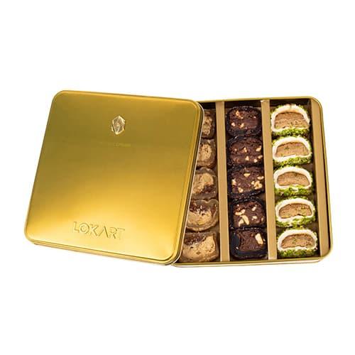 Premium-turkish-delight-box-with-real-citrine-brooch,-lokart,-454g-–-16oz