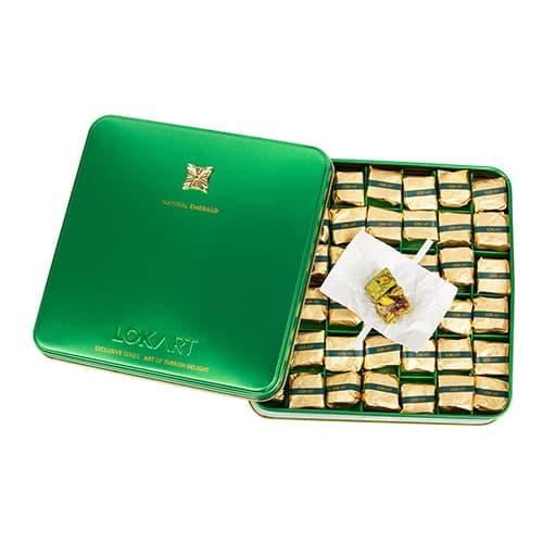 Premium-turkish-delight-box-with-real-emerald-brooch,-lokart,-454g-–-16oz