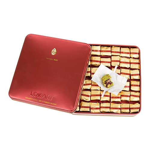 Premium-turkish-delight-box-with-real-ruby-brooch,-lokart,-454g-–-16oz