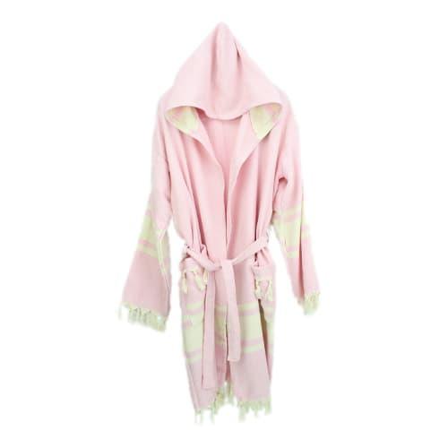 Loincloth-bathrobe-hooded-diamond-striped-light-pink