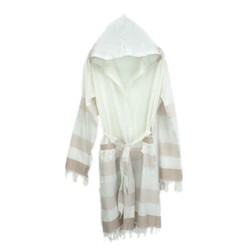 Loincloth-bathrobe-stripe-beige-white-gray