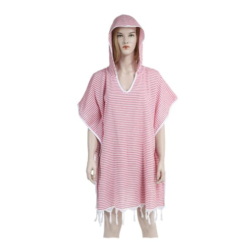 Loincloth-dress-hooded-pinstriped-red
