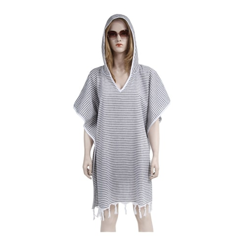 Loincloth-dress-hooded-thin-striped-black