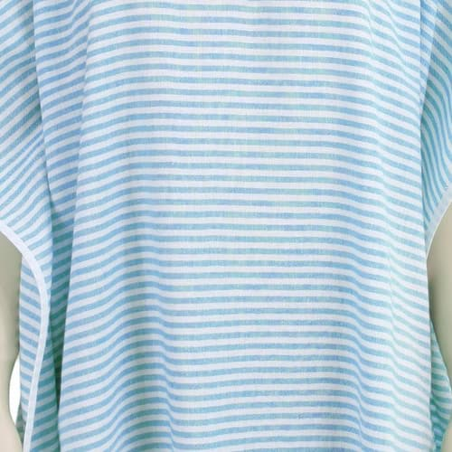Loincloth-dress-hooded-thin-striped-turquoise 2