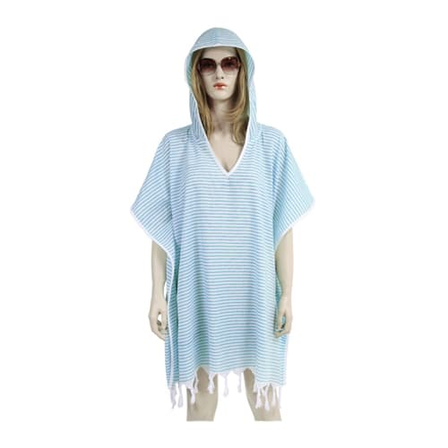 Loincloth-dress-hooded-thin-striped-turquoise