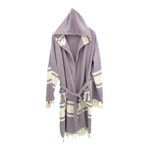 Loincloth-robe-hooded-diamond-striped-purple