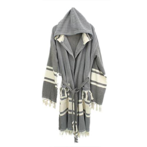 Loincloth-robe-hooded-fish-back-striped-black